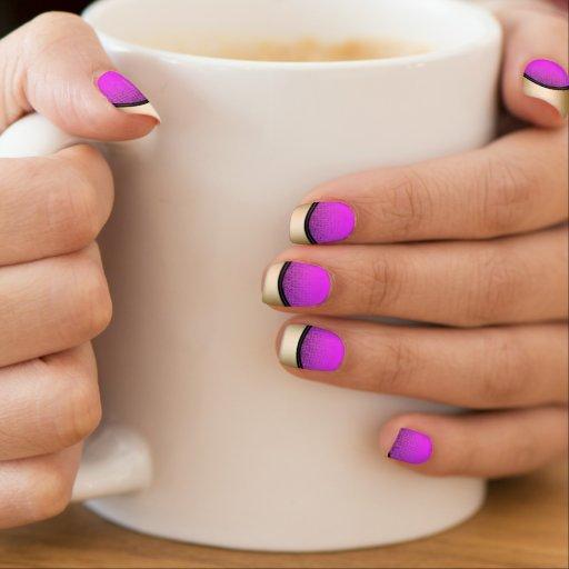 Modern Gold Edge Bright Neon Pink Minx ® Nail Wraps
