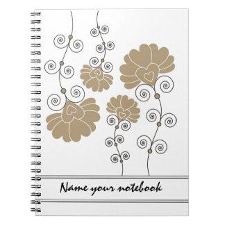Modern Gold Floral Designer Notebooks