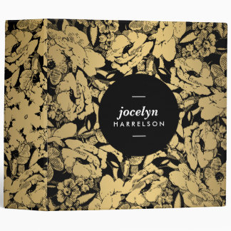 Modern Gold Flowers on Black Personalized Binder