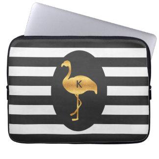 Modern Gold Foil Flamingo Monogram Laptop Computer Sleeve