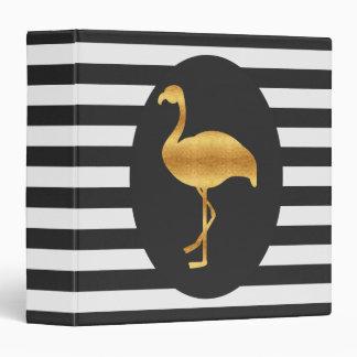 Modern Gold Foil Flamingo Vinyl Binder