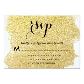 "MODERN GOLD FOIL RESPONSE CARDS 3.5"" X 5"" INVITATION CARD"