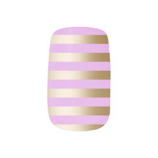 Modern Gold Foil Stripes Blush Pink Minx Nail Art