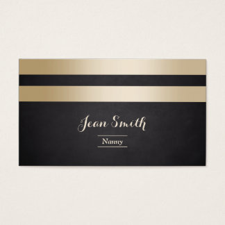 Modern Gold Foil Stripes Nanny Business Card