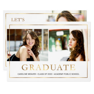 Modern Gold Frame Photo Collage Graduation Party Card
