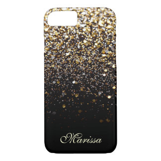 Modern Gold Glitter Black Bling iPhone 7 Case