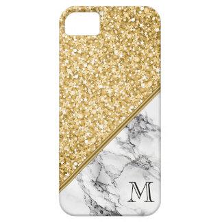 Modern Gold Glitter Black White Marble iPhone 5 Cover