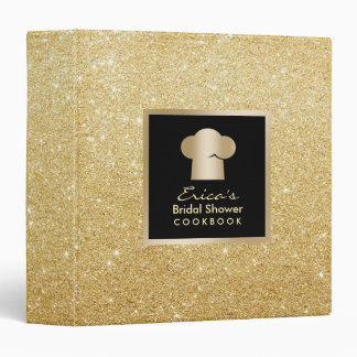 Modern Gold Glitter Bridal Shower Cookbook Recipe Binder
