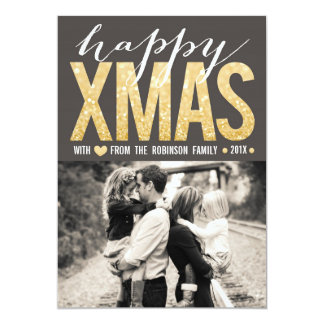 "Modern Gold Glitter Christmas Photo Flat Card 5"" X 7"" Invitation Card"