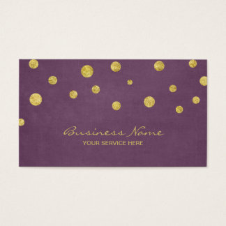 Modern Gold Glitter Confetti Dots Violet Business Card
