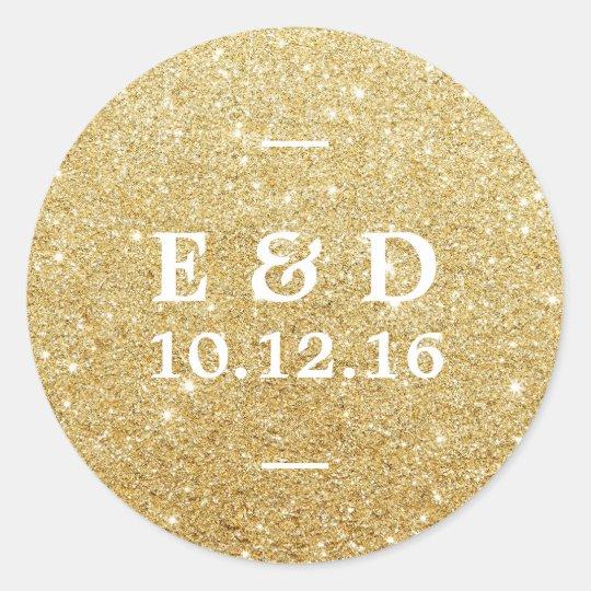 Modern Gold Glitter Elegant Wedding Favour Classic Round Sticker