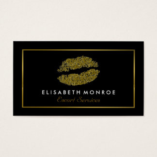 Modern Gold Glitter Lips, Escort Service Business Card