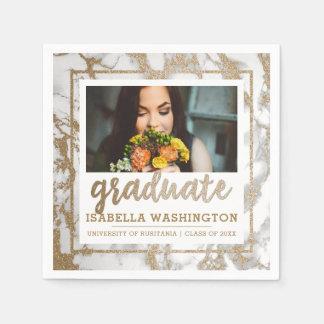 Modern Gold Glitter & Marble Photo Graduate Paper Napkin
