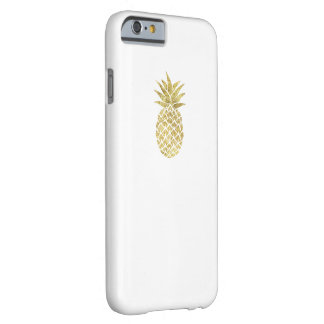 Modern Gold Glitter Pineapple Logo Classy White Barely There iPhone 6 Case