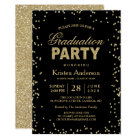 Modern Gold Glitter Sparkles Graduation Party Card