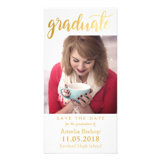 Modern Gold Graduate Typography Save The Date Card