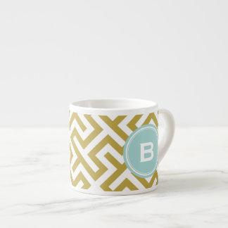 Modern gold greek key geometric patterns monogram espresso mug