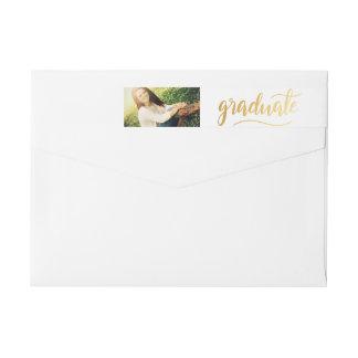 Modern Gold Handwritten Graduate Photo Wrap Around Label