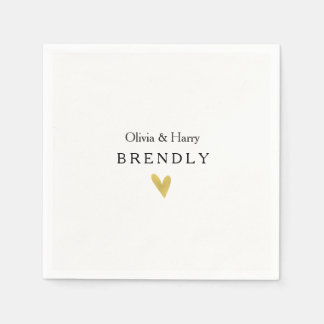 Modern Gold Heart Wedding Paper Napkins