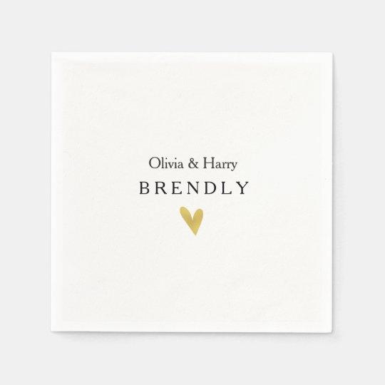 Modern Gold Heart Wedding Paper Napkins