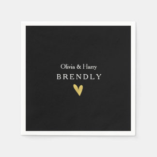 Modern Gold Heart Wedding Paper Napkins - Black