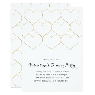 Modern Gold Hearts Valentine's Day Dinner Party Card