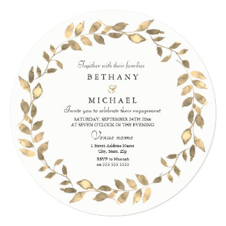 Modern Gold Leaf Wreath Engagement Party Invite