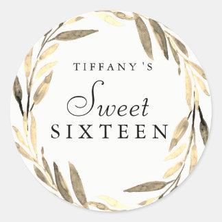 Modern Gold Leaf Wreath Sweet 16 Sticker