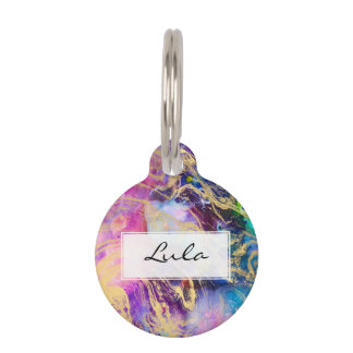 Modern gold marble pastel watercolor nebula pet ID tag