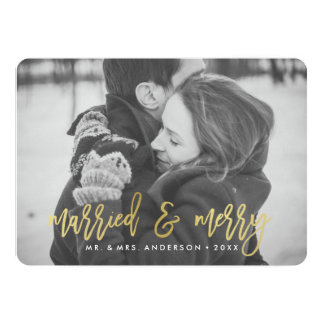 Modern Gold Married and Merry   Holiday Photo Card