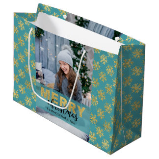 Modern Gold Merry Christmas Photo Large Gift Bag