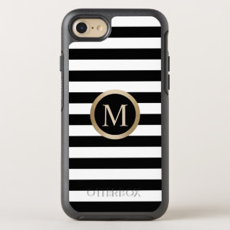 Modern Gold Monogram Initial Black & White Stripes OtterBox Symmetry iPhone 8/7 Case
