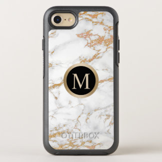 Modern Gold Monogram Initial Trendy Marble OtterBox Symmetry iPhone 8/7 Case