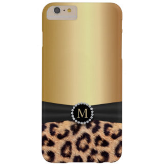 Modern Gold Monogram Leopard Barely There iPhone 6 Plus Case