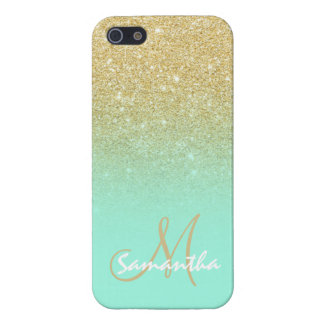 Modern gold ombre mint green block personalized case for iPhone 5/5S