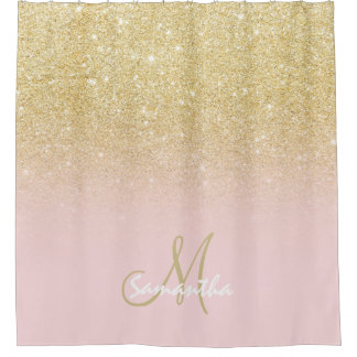 Modern gold ombre soft pink block personalized