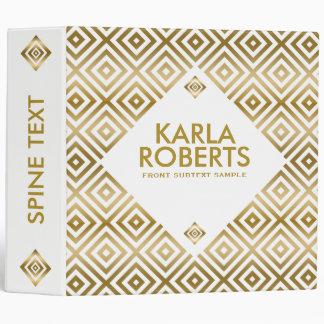Modern Gold On White Geometric Pattern 3 Ring Binder