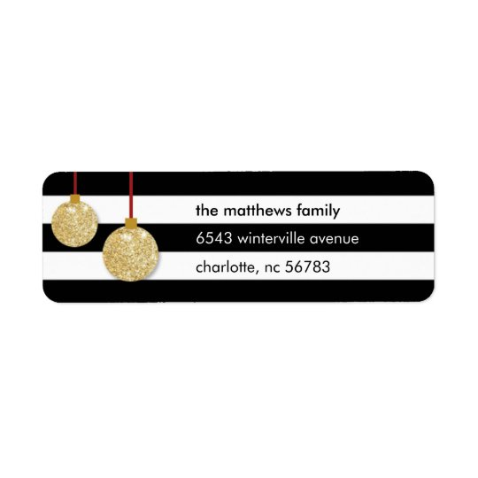 Modern Gold Ornament Striped Address Label