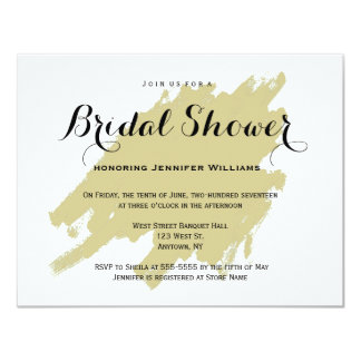 Modern gold paint bridal shower invitations