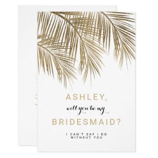 Modern gold palm tree Bridesmaid Card