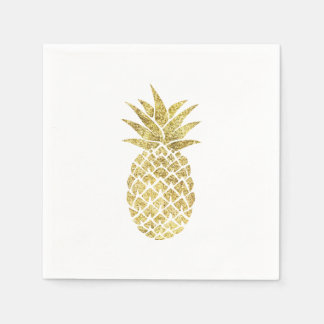 Modern Gold Pineapple Disposable Napkins