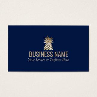 Modern Gold Pineapple Logo Elegant Midnight Blue Business Card