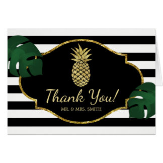 Modern Gold Pineapple Tropical Wedding Thank You Card