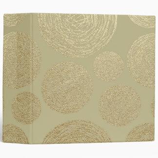 modern, gold,polka dots, metallic,elegant,chic,han 3 ring binder