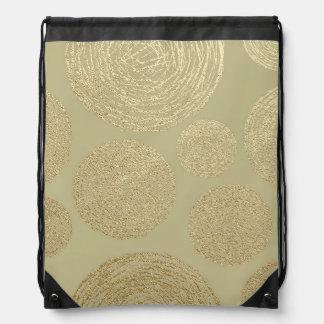 modern, gold,polka dots, metallic,elegant,chic,han drawstring bag