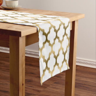 Modern Gold Quatrefoil Moroccan Pattern Short Table Runner