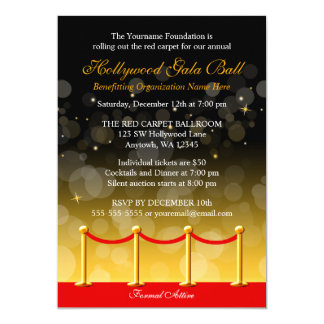 "Modern Gold Red Carpet Hollywood Fundraiser 5"" X 7"" Invitation Card"