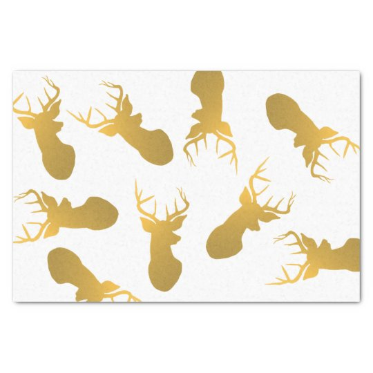 Modern Gold Reindeer Silhouette Christmas Holiday Tissue Paper