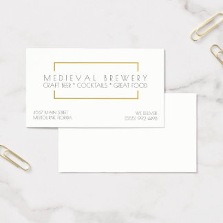 Modern Gold Restaurant and Bar Business Business Card