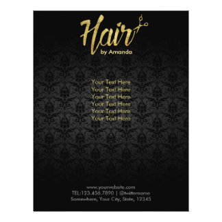 Modern Gold Script Damask Hair Salon Brochures